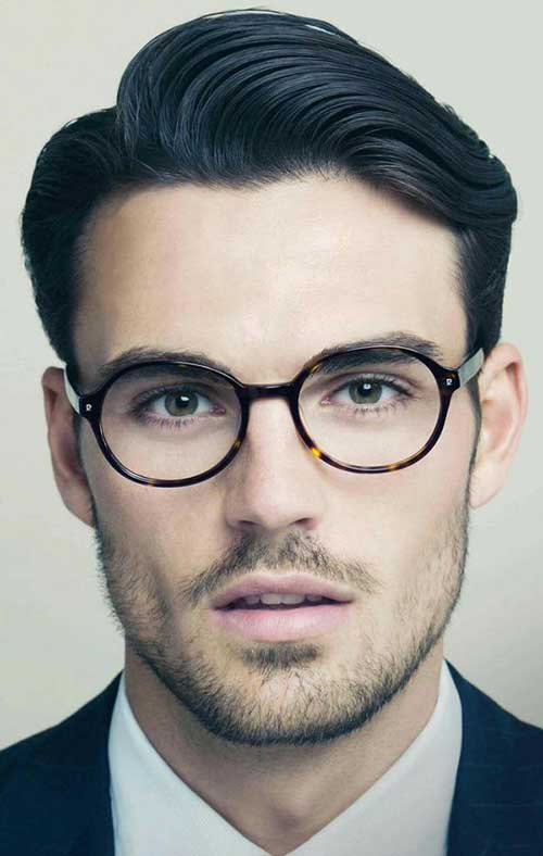 Oval Face Shape Male with Glasses Hairstyles