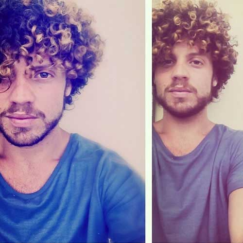 Thick Curly Hairstyles with Highlights for Men